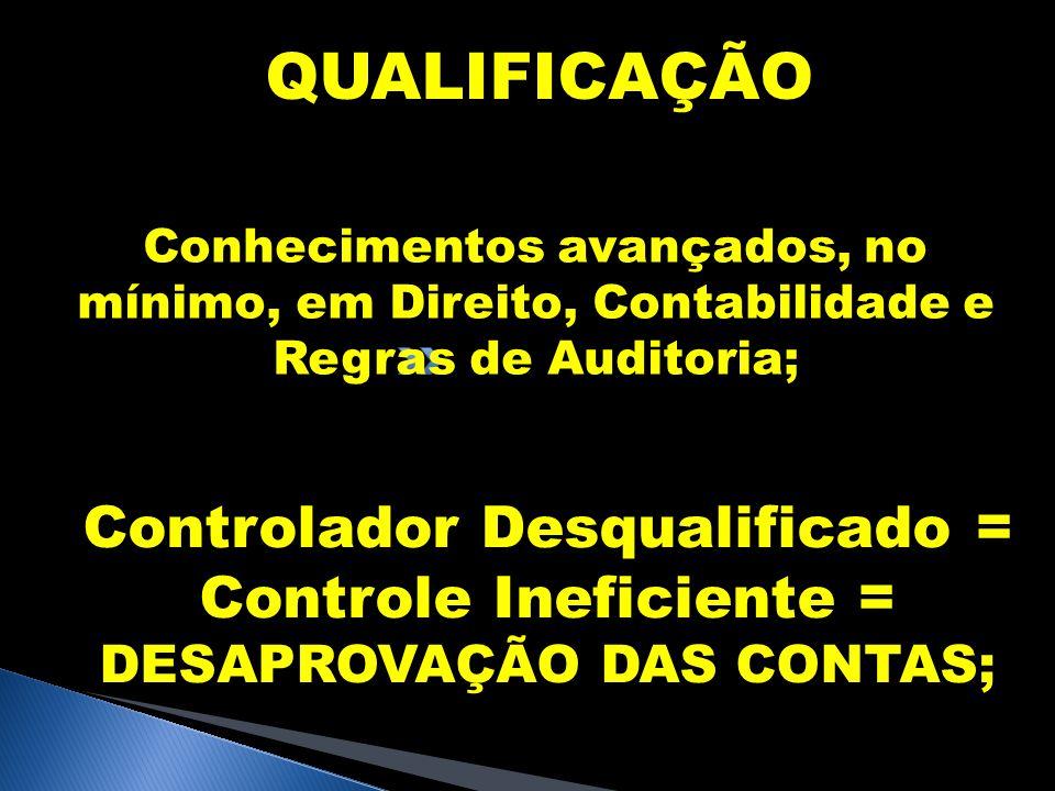 QUALIFICAÇÃO Conhecimentos avançados, no mínimo, em Direito, Contabilidade e Regras de Auditoria; Controlador Desqualificado = Controle Ineficiente =