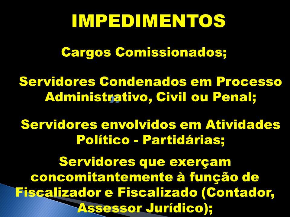 IMPEDIMENTOS Cargos Comissionados; Servidores Condenados em Processo Administrativo, Civil ou Penal; Servidores envolvidos em Atividades Político - Pa