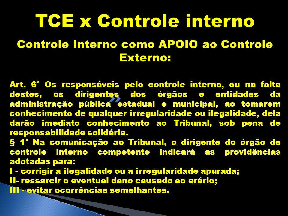 TCE x Controle interno Controle Interno como APOIO ao Controle Externo: Art. 6° Os responsáveis pelo controle interno, ou na falta destes, os dirigent