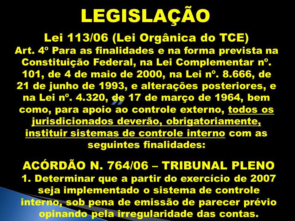 LEGISLAÇÃO Lei 113/06 (Lei Orgânica do TCE) Art. 4º Para as finalidades e na forma prevista na Constituição Federal, na Lei Complementar nº. 101, de 4