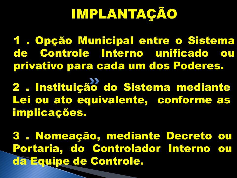 IMPLANTAÇÃO 1. Opção Municipal entre o Sistema de Controle Interno unificado ou privativo para cada um dos Poderes. 2. Instituição do Sistema mediante