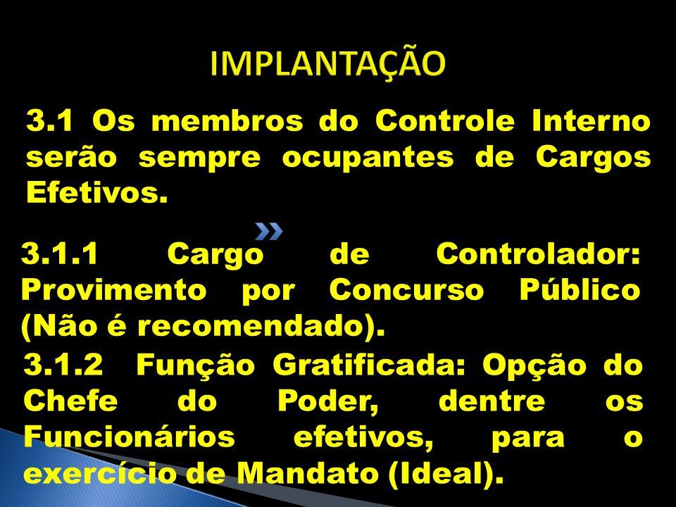 IMPLANTAÇÃO 3.1 Os membros do Controle Interno serão sempre ocupantes de Cargos Efetivos. 3.1.1 Cargo de Controlador: Provimento por Concurso Público