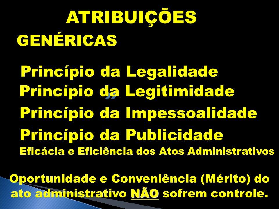 ATRIBUIÇÕES GENÉRICAS Princípio da Legalidade Princípio da Legitimidade Princípio da Impessoalidade Princípio da Publicidade Eficácia e Eficiência dos