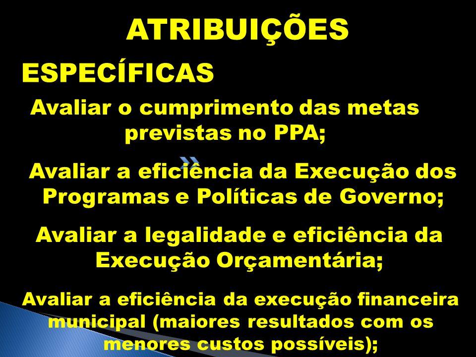 ATRIBUIÇÕES ESPECÍFICAS Avaliar o cumprimento das metas previstas no PPA; Avaliar a eficiência da Execução dos Programas e Políticas de Governo; Avali
