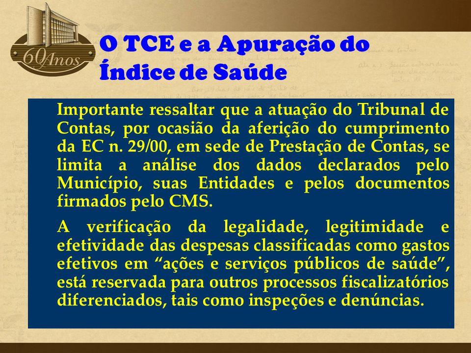 O TCE e a Apuração do Índice de Saúde Importante ressaltar que a atuação do Tribunal de Contas, por ocasião da aferição do cumprimento da EC n. 29/00,