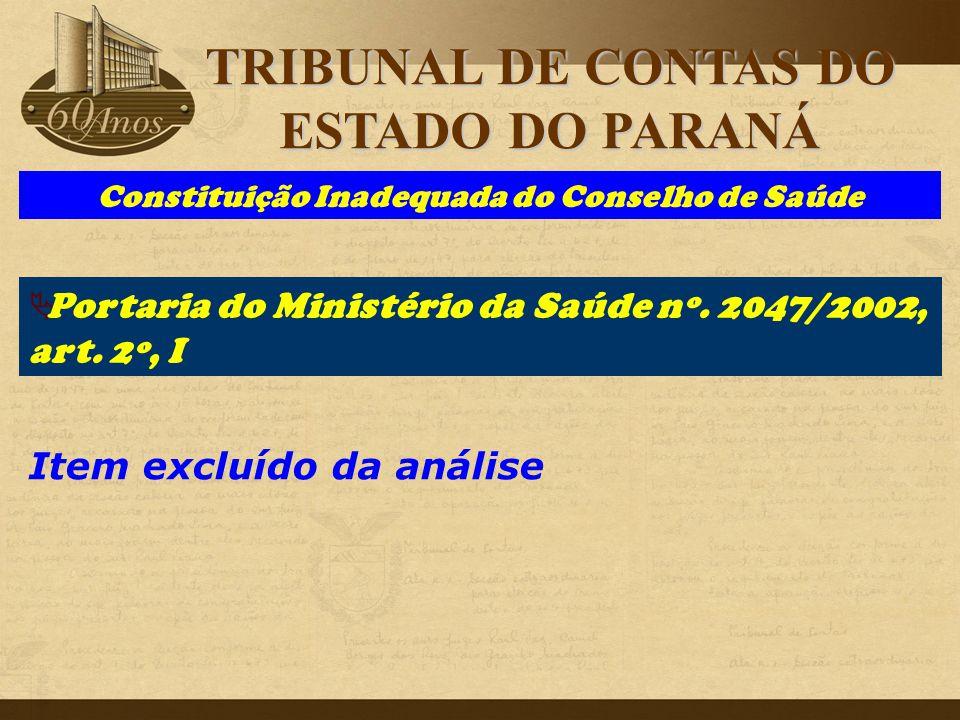Constituição Inadequada do Conselho de Saúde Item excluído da análise  Portaria do Ministério da Saúde nº. 2047/2002, art. 2º, I TRIBUNAL DE CONTAS D
