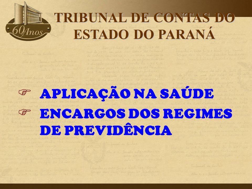 APLICAÇÃO NA SAÚDE  ENCARGOS DOS REGIMES DE PREVIDÊNCIA TRIBUNAL DE CONTAS DO ESTADO DO PARANÁ