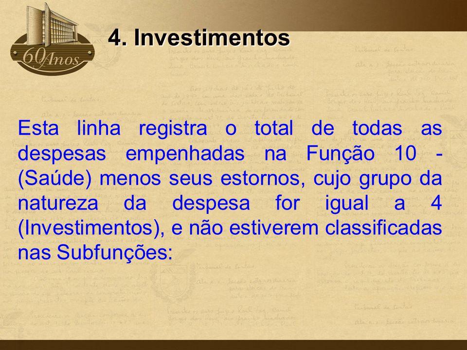 4. Investimentos Esta linha registra o total de todas as despesas empenhadas na Função 10 - (Saúde) menos seus estornos, cujo grupo da natureza da des