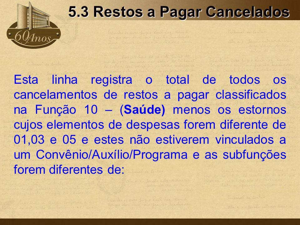 5.3 Restos a Pagar Cancelados Esta linha registra o total de todos os cancelamentos de restos a pagar classificados na Função 10 – (Saúde) menos os es
