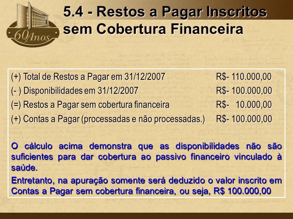 5.4 - Restos a Pagar Inscritos sem Cobertura Financeira (+) Total de Restos a Pagar em 31/12/2007R$- 110.000,00 (- ) Disponibilidades em 31/12/2007R$-