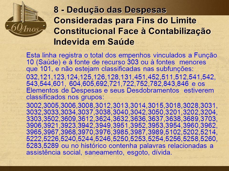 8 - Dedução das Despesas Consideradas para Fins do Limite Constitucional Face à Contabilização Indevida em Saúde Esta linha registra o total dos empen