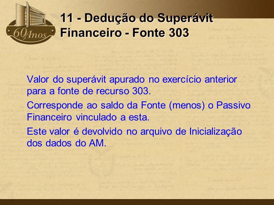 11 - Dedução do Superávit Financeiro - Fonte 303 Valor do superávit apurado no exercício anterior para a fonte de recurso 303. Corresponde ao saldo da