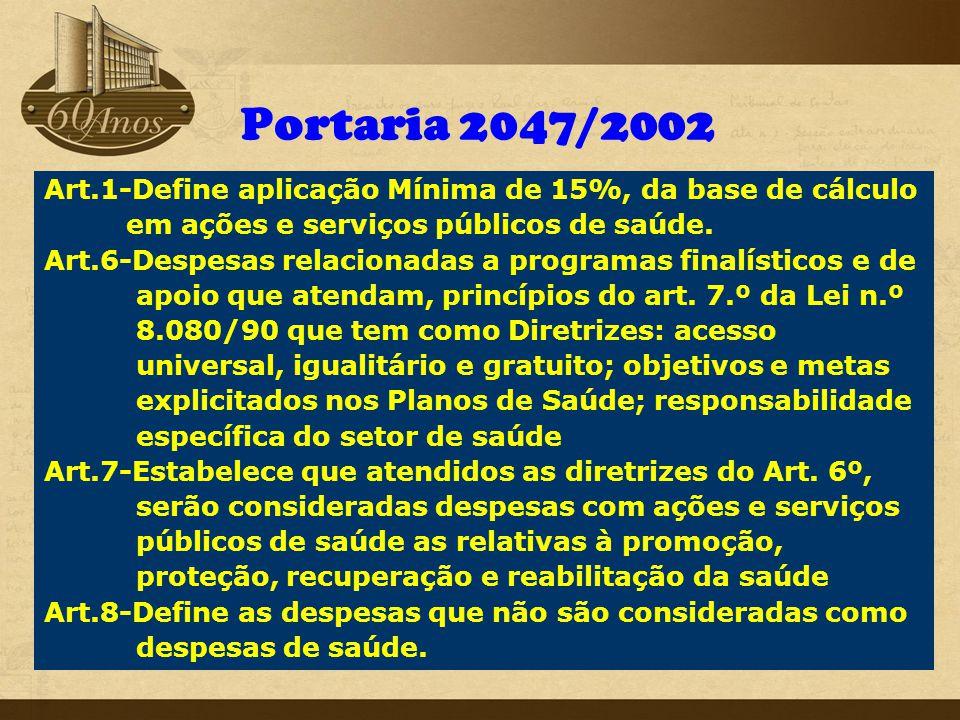 Portaria 2047/2002 Art.1-Define aplicação Mínima de 15%, da base de cálculo em ações e serviços públicos de saúde. Art.6-Despesas relacionadas a progr
