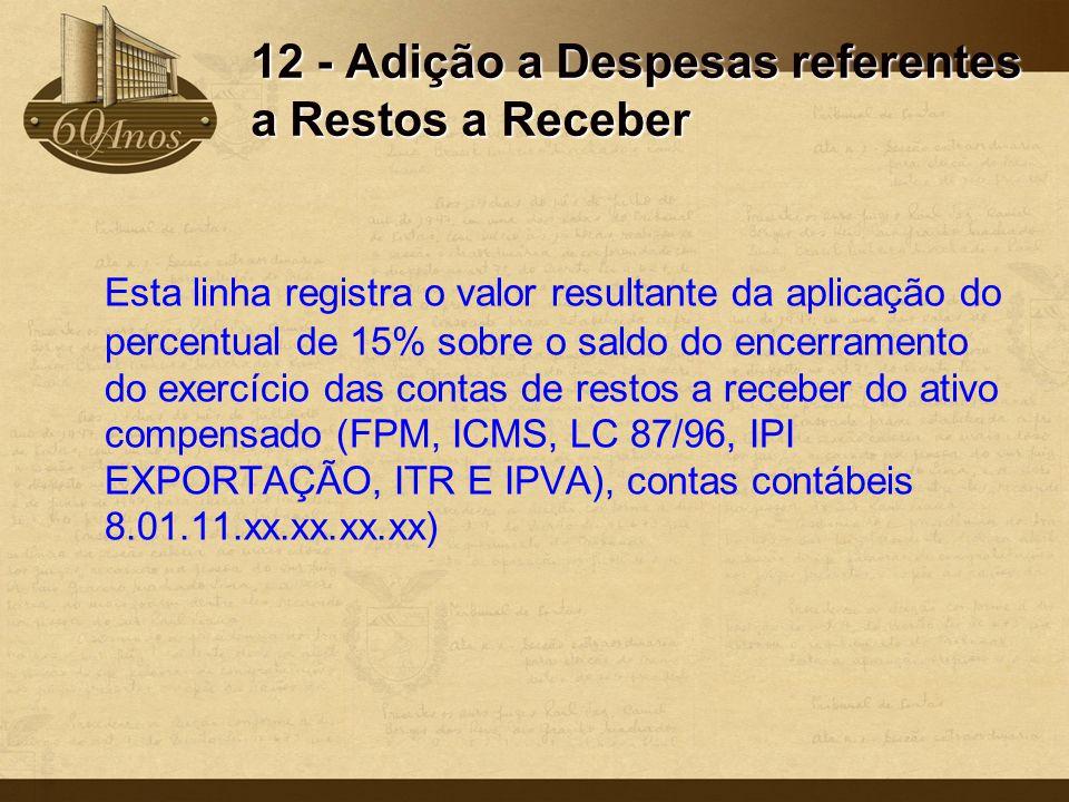 12 - Adição a Despesas referentes a Restos a Receber Esta linha registra o valor resultante da aplicação do percentual de 15% sobre o saldo do encerra