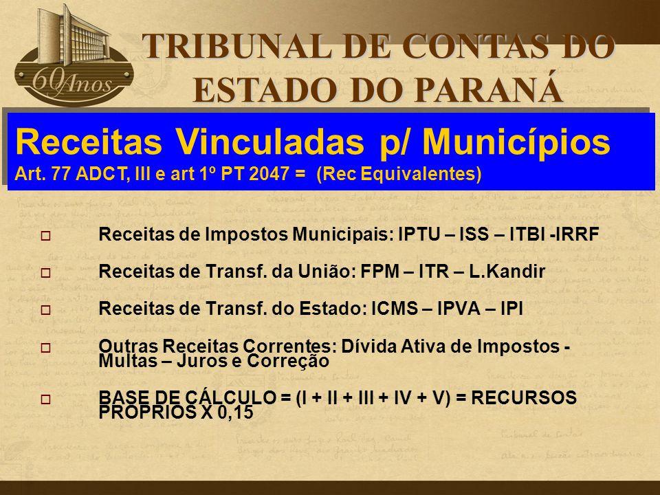  Receitas de Impostos Municipais: IPTU – ISS – ITBI -IRRF  Receitas de Transf. da União: FPM – ITR – L.Kandir  Receitas de Transf. do Estado: ICMS