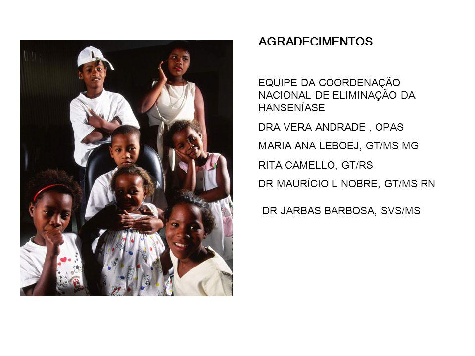 AGRADECIMENTOS EQUIPE DA COORDENAÇÃO NACIONAL DE ELIMINAÇÃO DA HANSENÍASE DRA VERA ANDRADE, OPAS MARIA ANA LEBOEJ, GT/MS MG RITA CAMELLO, GT/RS DR MAURÍCIO L NOBRE, GT/MS RN DR JARBAS BARBOSA, SVS/MS