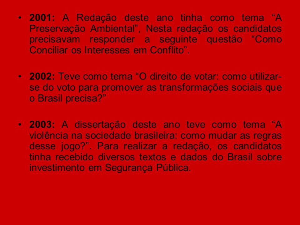 """2001: A Redação deste ano tinha como tema """"A Preservação Ambiental"""", Nesta redação os candidatos precisavam responder a seguinte questão """"Como Concili"""