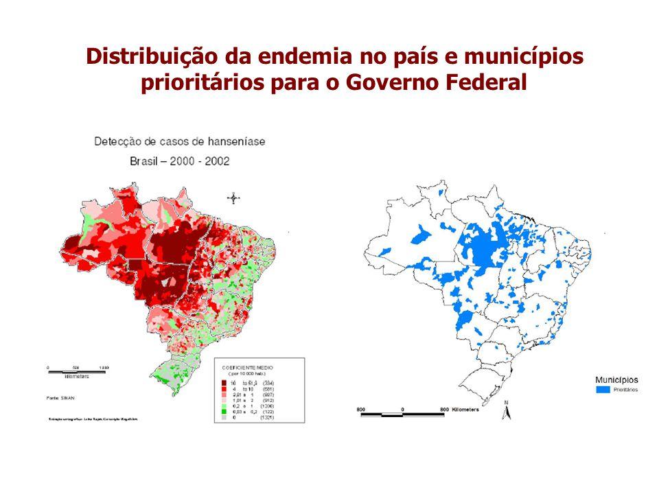 Distribuição da endemia no país e municípios prioritários para o Governo Federal