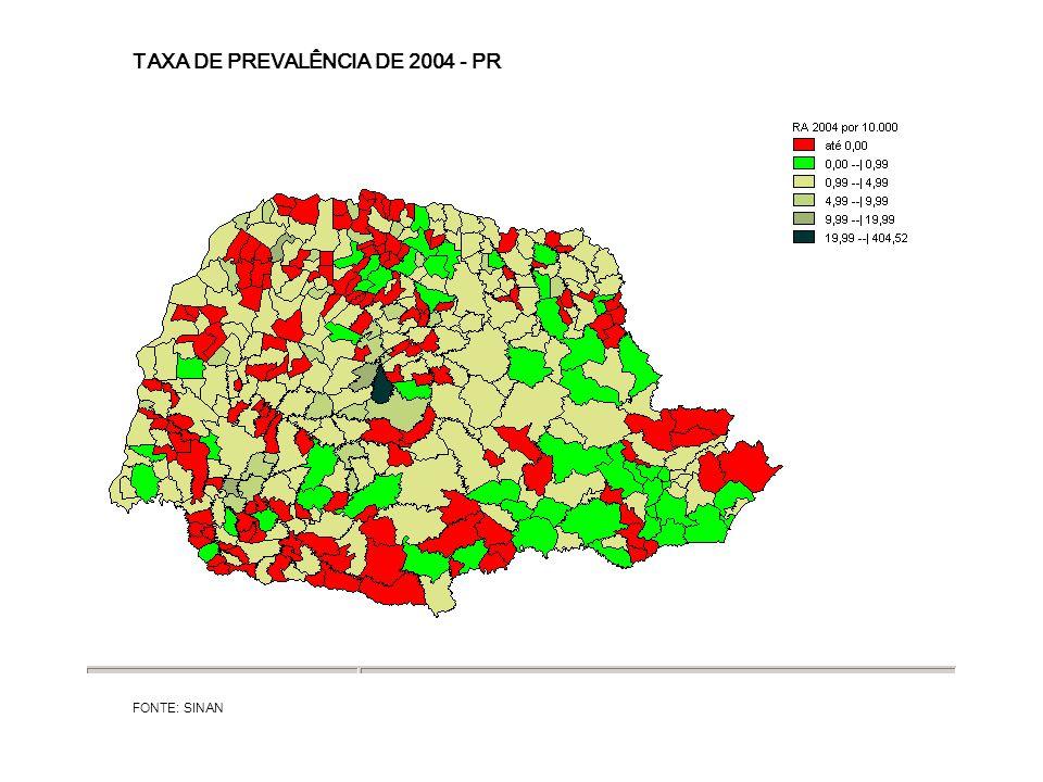 TAXA DE PREVALÊNCIA DE 2004 - PR FONTE: SINAN