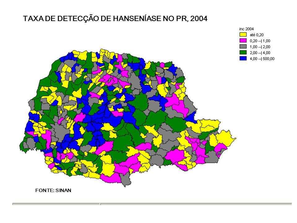 TAXA DE DETECÇÃO DE HANSENÍASE NO PR, 2004 FONTE: SINAN