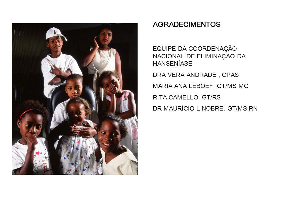 AGRADECIMENTOS EQUIPE DA COORDENAÇÃO NACIONAL DE ELIMINAÇÃO DA HANSENÍASE DRA VERA ANDRADE, OPAS MARIA ANA LEBOEF, GT/MS MG RITA CAMELLO, GT/RS DR MAURÍCIO L NOBRE, GT/MS RN
