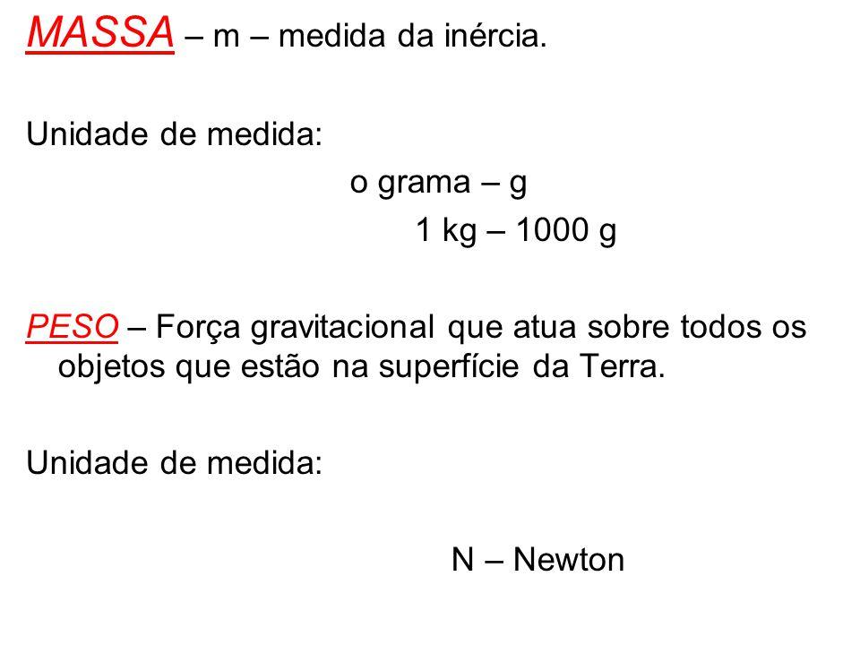MASSA – m – medida da inércia. Unidade de medida: o grama – g 1 kg – 1000 g PESO – Força gravitacional que atua sobre todos os objetos que estão na su