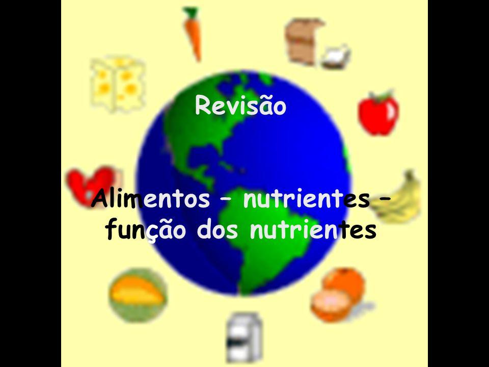 Revisão Alimentos – nutrientes – função dos nutrientes