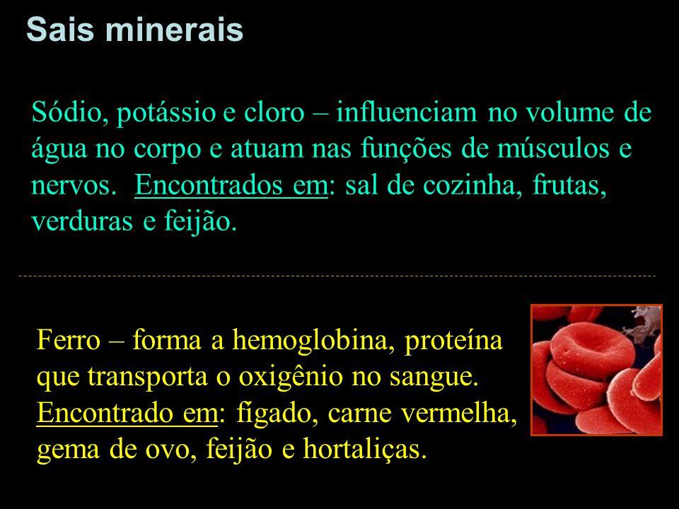 Ferro – forma a hemoglobina, proteína que transporta o oxigênio no sangue. Encontrado em: fígado, carne vermelha, gema de ovo, feijão e hortaliças. Só