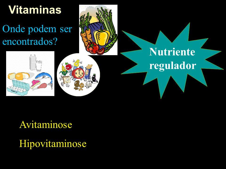 Vitaminas Nutriente regulador Onde podem ser encontrados? Avitaminose Hipovitaminose
