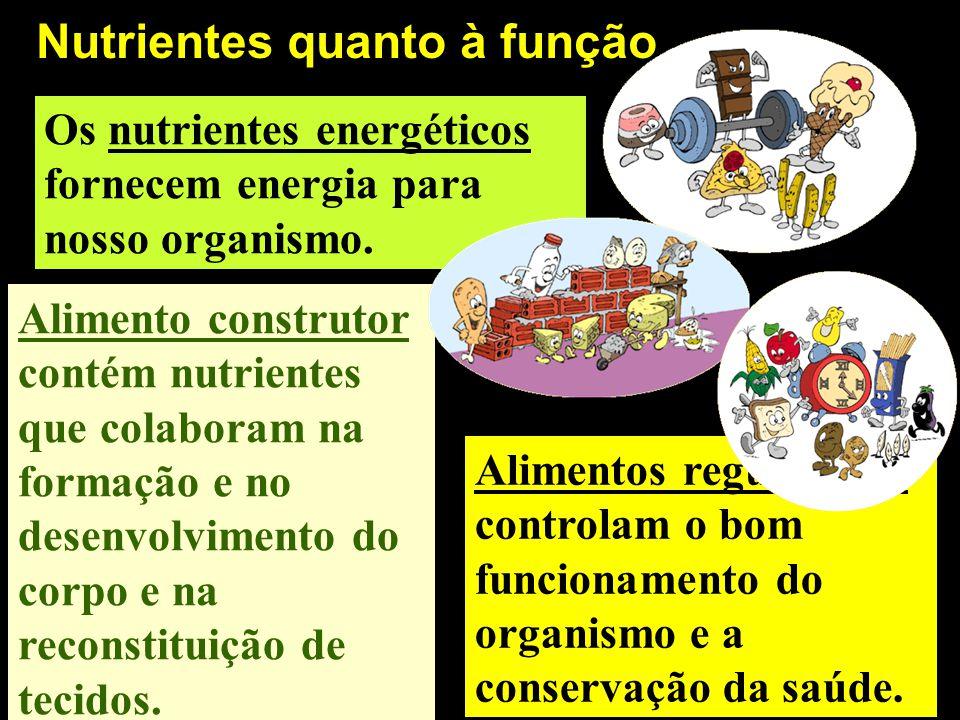 Nutrientes quanto à função Alimentos reguladores controlam o bom funcionamento do organismo e a conservação da saúde. Os nutrientes energéticos fornec