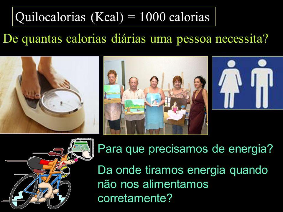 Quilocalorias (Kcal) = 1000 calorias De quantas calorias diárias uma pessoa necessita? Para que precisamos de energia? Da onde tiramos energia quando