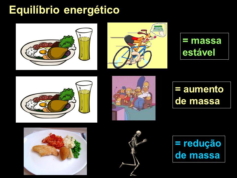 = massa estável = aumento de massa = redução de massa Equilíbrio energético