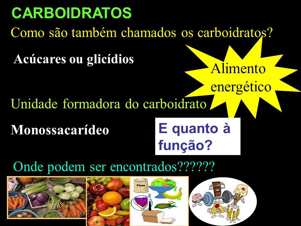 Como são também chamados os carboidratos? Unidade formadora do carboidrato Acúcares ou glicídios Monossacarídeo Onde podem ser encontrados?????? Alime