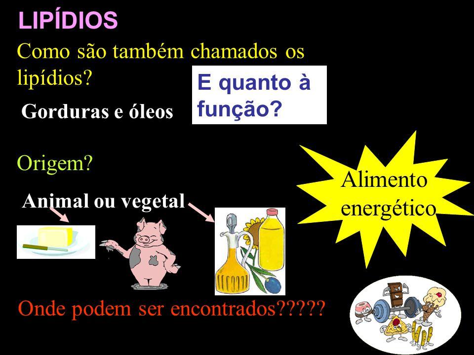 Alimento energético Onde podem ser encontrados????? LIPÍDIOS E quanto à função? Como são também chamados os lipídios? Gorduras e óleos Origem? Animal