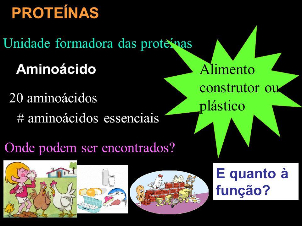 Unidade formadora das proteínas Alimento construtor ou plástico 20 aminoácidos # aminoácidos essenciais PROTEÍNAS Aminoácido E quanto à função? Onde p