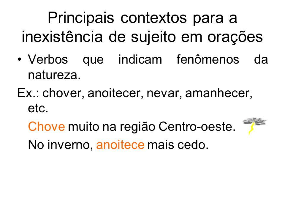Principais contextos para a inexistência de sujeito em orações Verbos que indicam fenômenos da natureza. Ex.: chover, anoitecer, nevar, amanhecer, etc