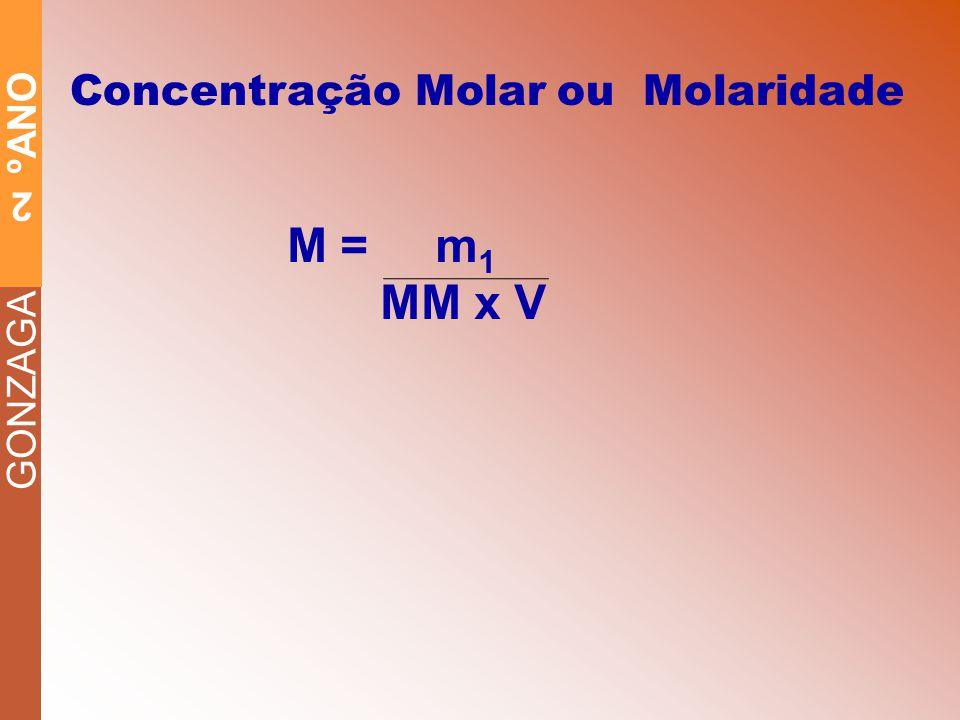 GONZAGA 2 ºANO Concentração Molar ou Molaridade M = m 1 MM x V