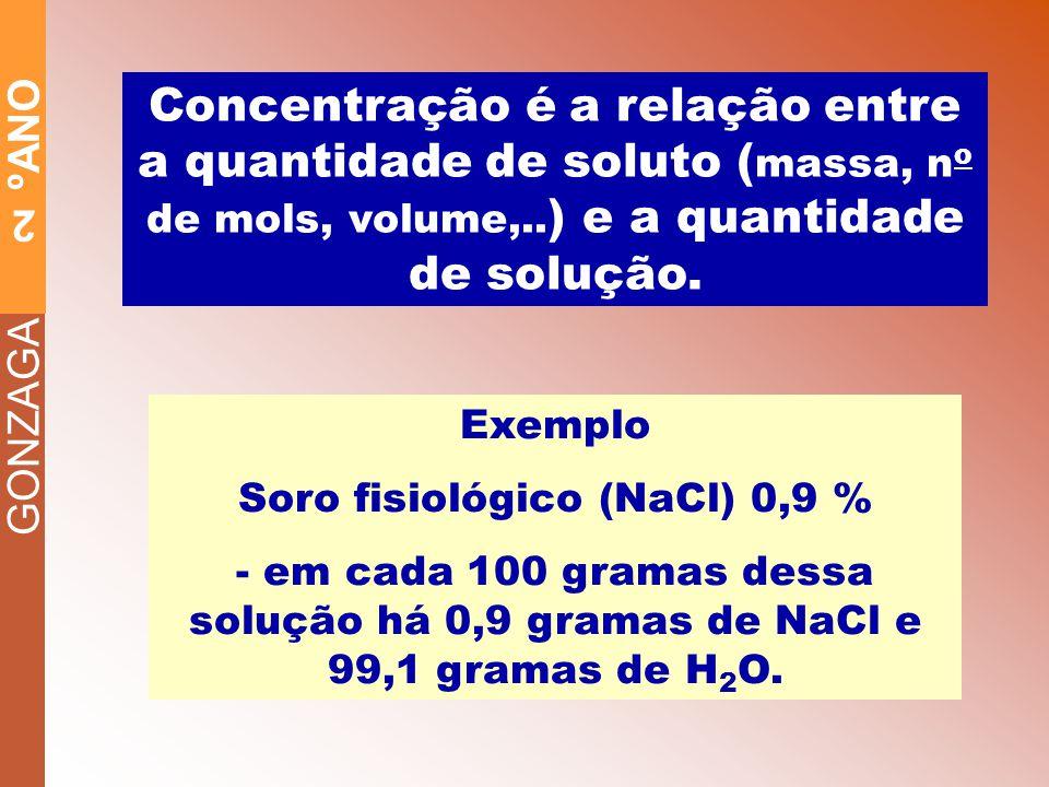 GONZAGA 2 ºANO Concentração é a relação entre a quantidade de soluto ( massa, n o de mols, volume,..