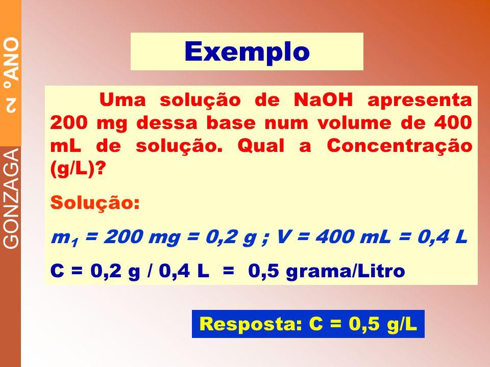 GONZAGA 2 ºANO Exemplo Uma solução de NaOH apresenta 200 mg dessa base num volume de 400 mL de solução.