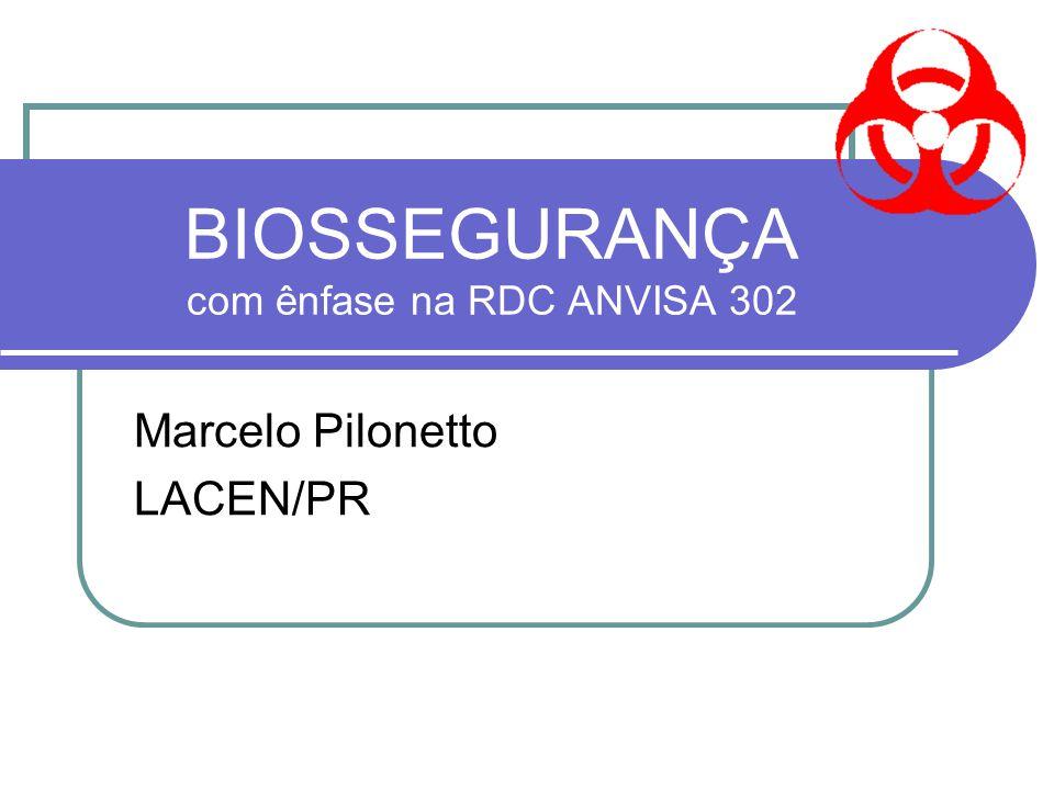 BIOSSEGURANÇA com ênfase na RDC ANVISA 302 Marcelo Pilonetto LACEN/PR
