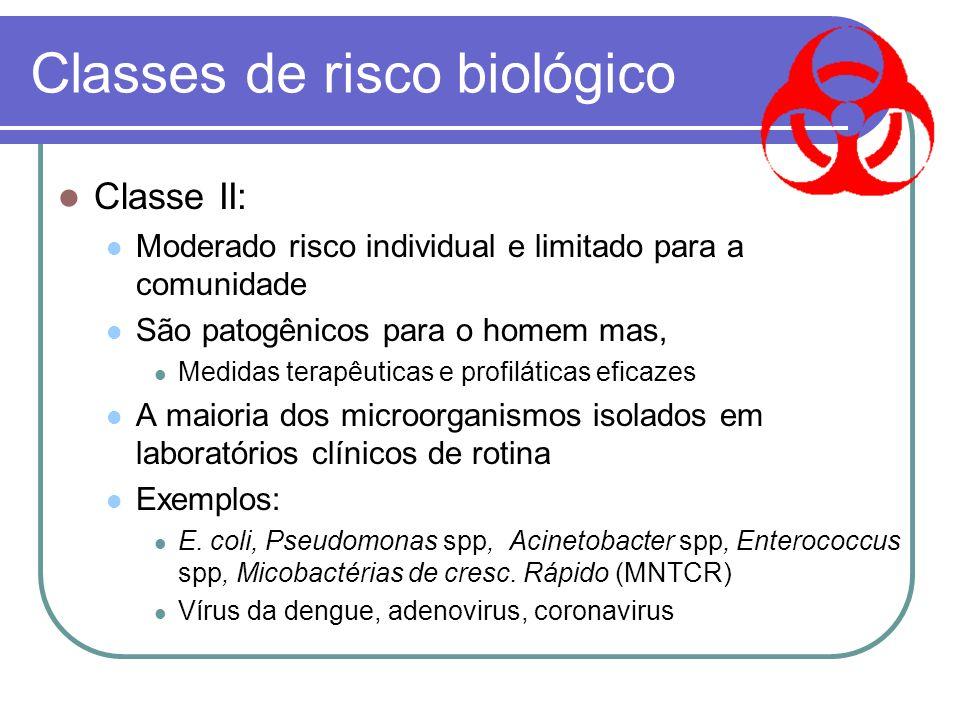 Classes de Risco Biológico Classe I: Dificilmente são patogênicos para o homem, animais ou plantas Exemplos: Lactobacillus, Bacillus cereus...