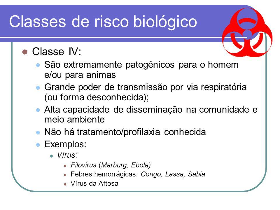 Classes de risco biológico Classe III: Muito patogênicos para o homem Potencialmente letais Disseminação via respiratória ou desconhecida Usualmente e