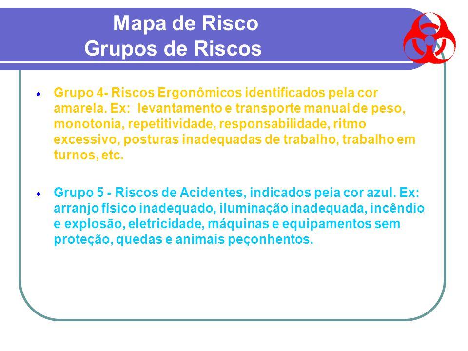 Mapa de Risco Grupos de Riscos  Grupo 1- Riscos Físicos, identificados pela cor verde. Ex. ruído, calor, frio, pressões, umidade, radiações ionizante
