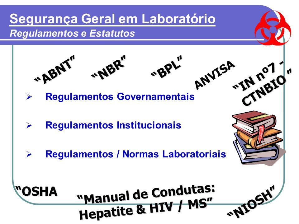 Segurança Geral em Laboratório Regulamentos e Estatutos ABNT NBR BPL  Regulamentos Governamentais  Regulamentos Institucionais  Regulamentos / Normas Laboratoriais OSHA Manual de Condutas: Hepatite & HIV / MS NIOSH IN nº7 - CTNBIO ANVISA