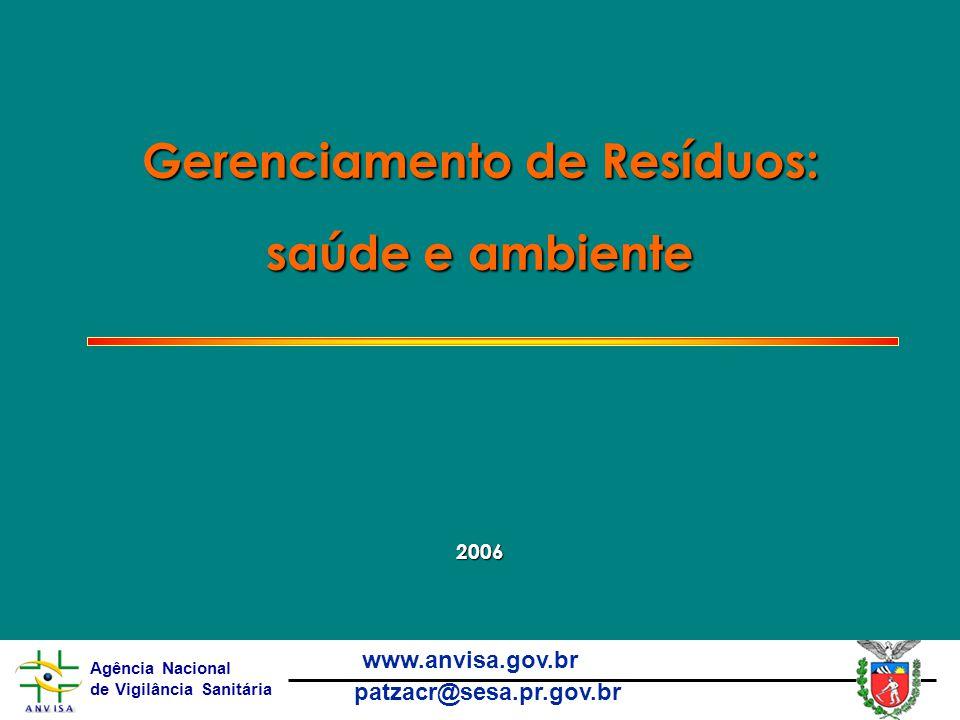 Agência Nacional de Vigilância Sanitária www.anvisa.gov.br patzacr@sesa.pr.gov.br Gerenciamento de Resíduos: saúde e ambiente 2006