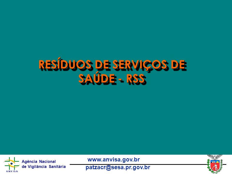 Agência Nacional de Vigilância Sanitária www.anvisa.gov.br patzacr@sesa.pr.gov.br RESÍDUOS DE SERVIÇOS DE SAÚDE - RSS