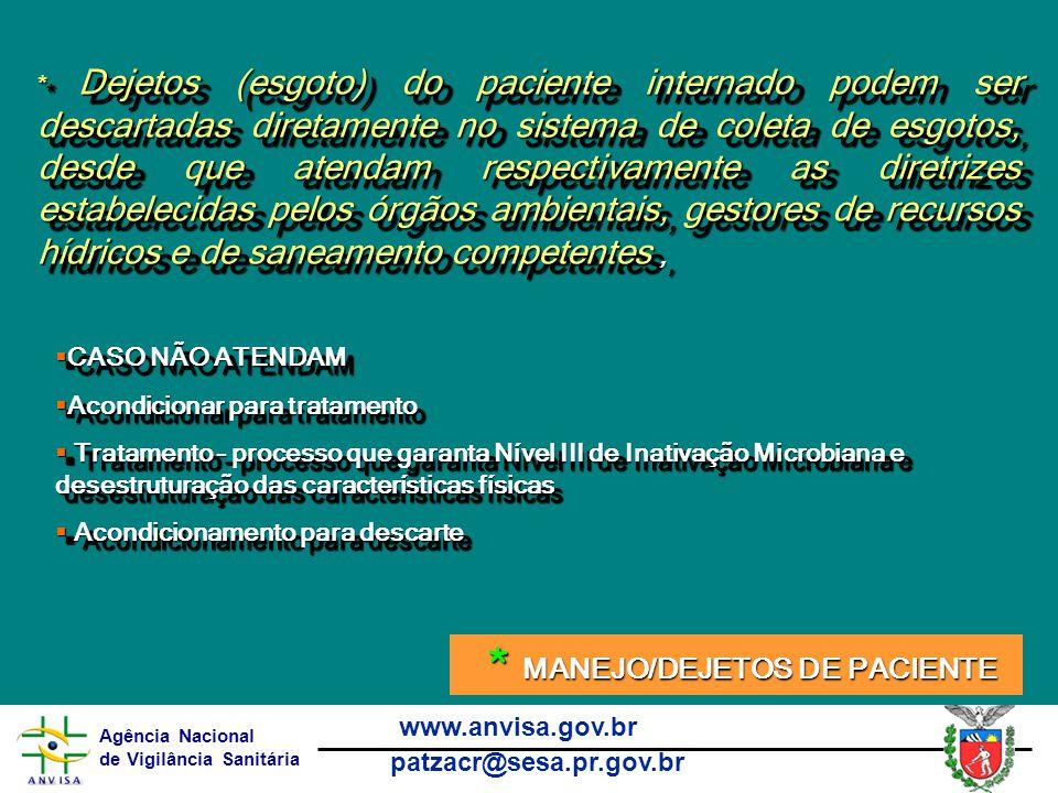 Agência Nacional de Vigilância Sanitária www.anvisa.gov.br patzacr@sesa.pr.gov.br  CASO NÃO ATENDAM  Acondicionar para tratamento  Tratamento – processo que garanta Nível III de Inativação Microbiana e desestruturação das características físicas  Acondicionamento para descarte  CASO NÃO ATENDAM  Acondicionar para tratamento  Tratamento – processo que garanta Nível III de Inativação Microbiana e desestruturação das características físicas  Acondicionamento para descarte * Dejetos (esgoto) do paciente internado podem ser descartadas diretamente no sistema de coleta de esgotos, desde que atendam respectivamente as diretrizes estabelecidas pelos órgãos ambientais, gestores de recursos hídricos e de saneamento competentes, * MANEJO/DEJETOS DE PACIENTE * MANEJO/DEJETOS DE PACIENTE