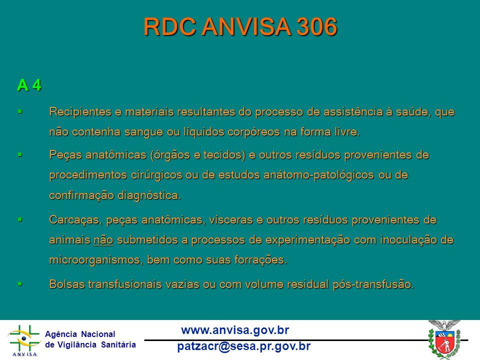 Agência Nacional de Vigilância Sanitária www.anvisa.gov.br patzacr@sesa.pr.gov.br RDC ANVISA 306 A 4  Recipientes e materiais resultantes do processo de assistência à saúde, que não contenha sangue ou líquidos corpóreos na forma livre.