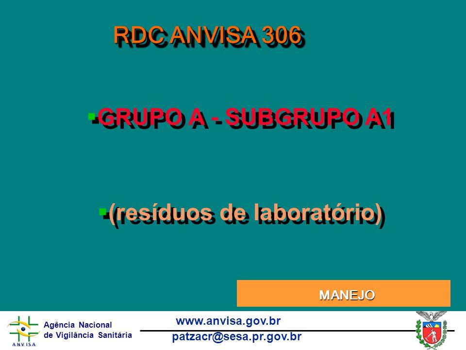 Agência Nacional de Vigilância Sanitária www.anvisa.gov.br patzacr@sesa.pr.gov.br RDC ANVISA 306 MANEJO MANEJO  GRUPO A - SUBGRUPO A1  (resíduos de laboratório)  GRUPO A - SUBGRUPO A1  (resíduos de laboratório)