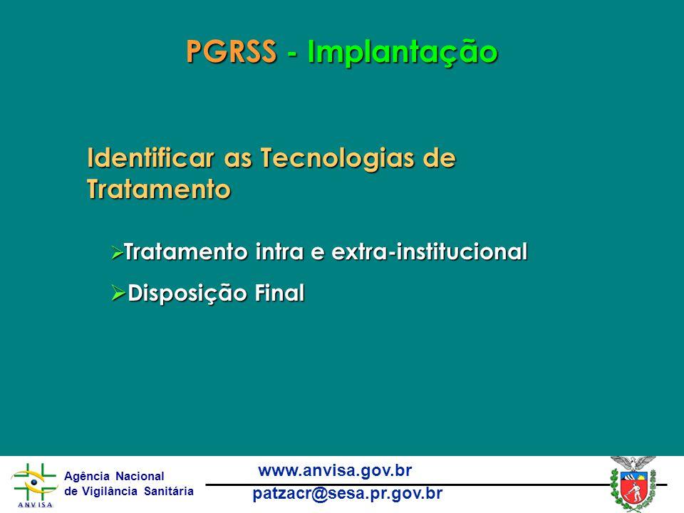 Agência Nacional de Vigilância Sanitária www.anvisa.gov.br patzacr@sesa.pr.gov.br PGRSS - Implantação Identificar as Tecnologias de Tratamento  Tratamento intra e extra-institucional  Disposição Final